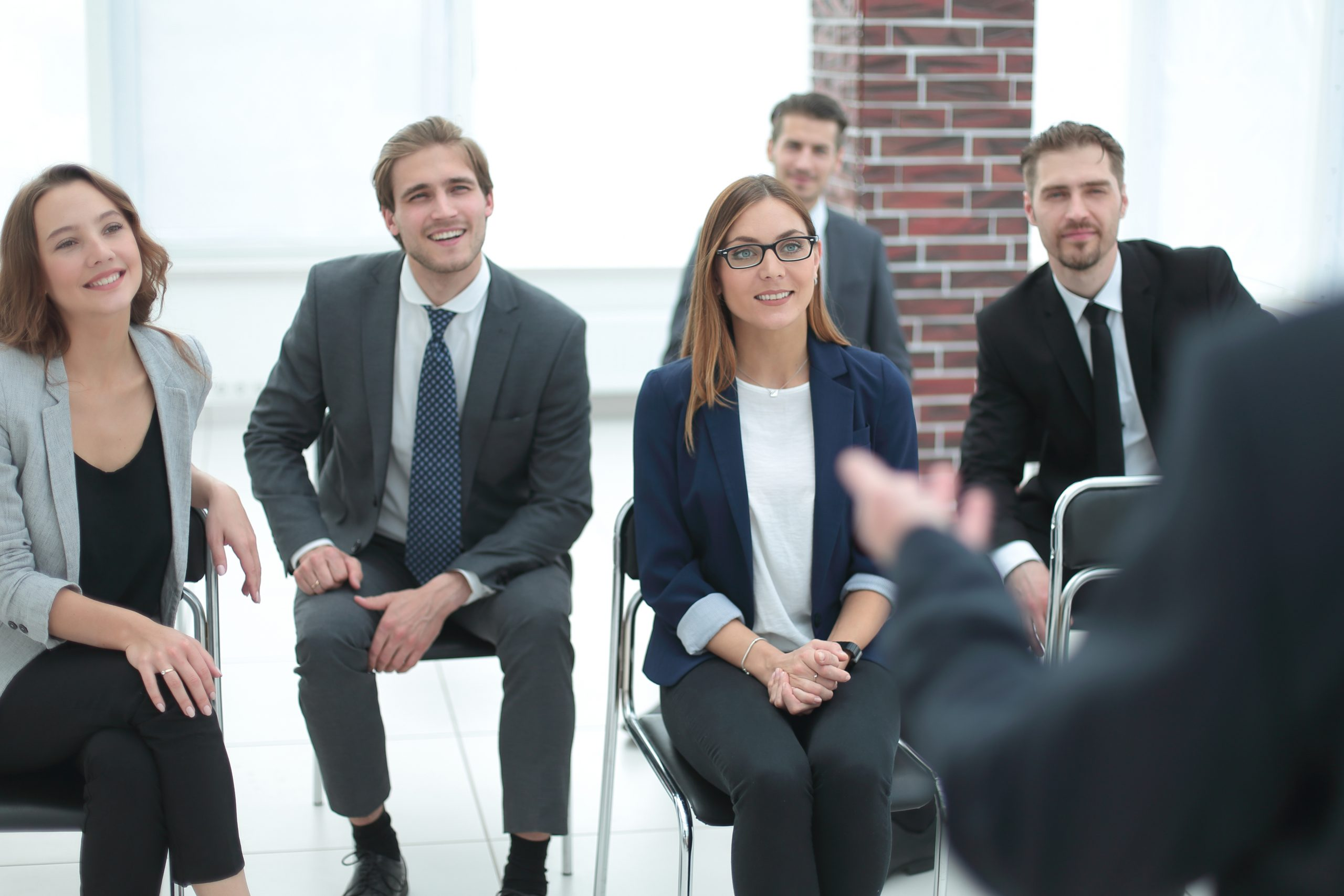 Viewpoint shot of business people in the meeting room